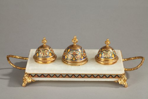 Coisonné enamel Inkwell signed F. Barbedienne