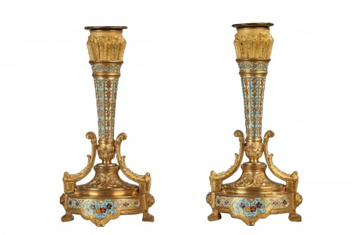 Pair of cloisonné enamel candlesticks signed Paul Louchet