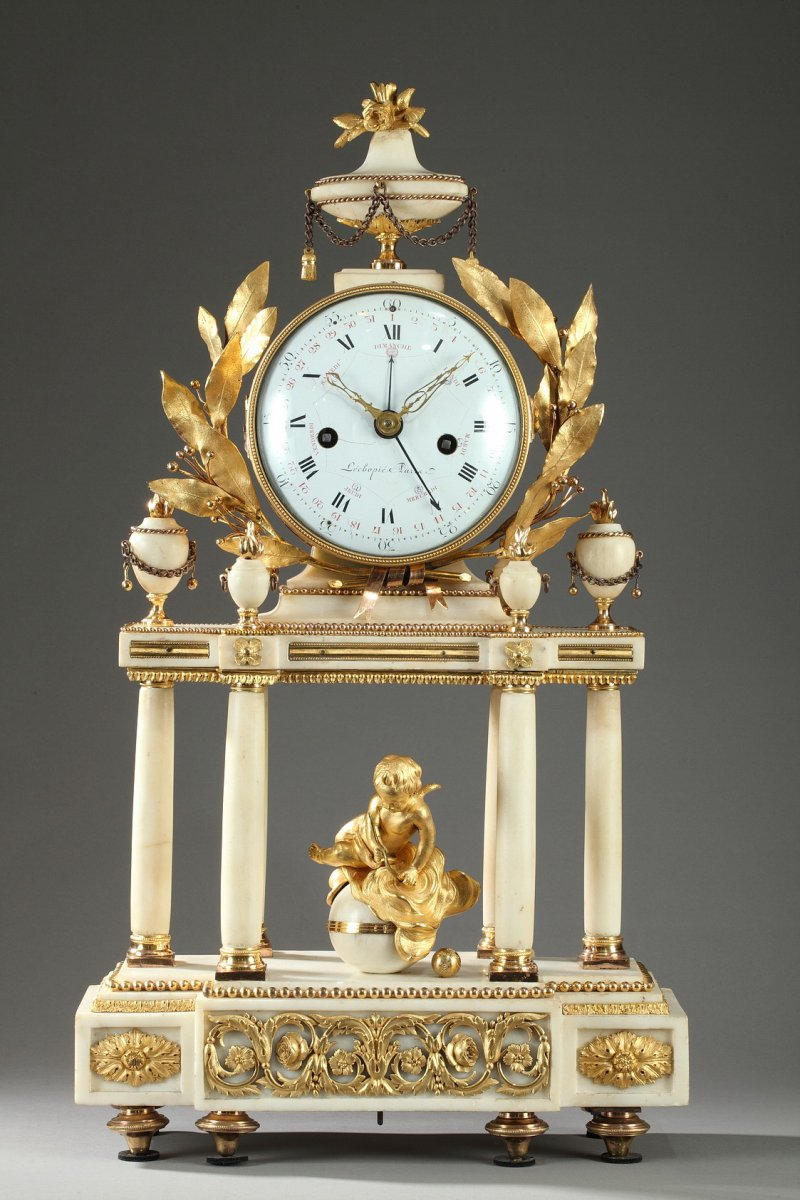 Large Louis Xvi Temple Clock Ref 61278