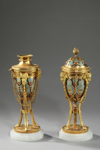 Pair of cloisonné bronze cassolettes - Decorative Objects Style Napoléon III