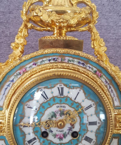 Large pendulum clock in bronze and enameled porcelain plates - Clocks Style Louis-Philippe