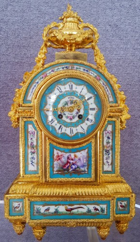 Clocks  - Large pendulum clock in bronze and enameled porcelain plates