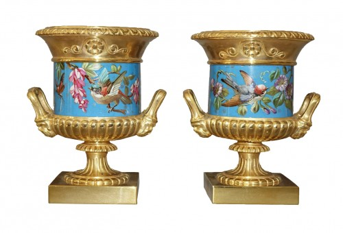 Pair of vases, gilded and enamelled bronze