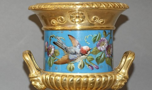 Decorative Objects  - Pair of vases, gilded and enamelled bronze