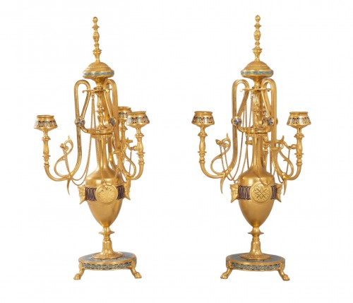 Pair of bronze and cloisonné enamel candelabra - F. Barbedienne