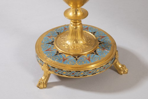Pair of bronze and cloisonné enamel candelabra - F. Barbedienne -