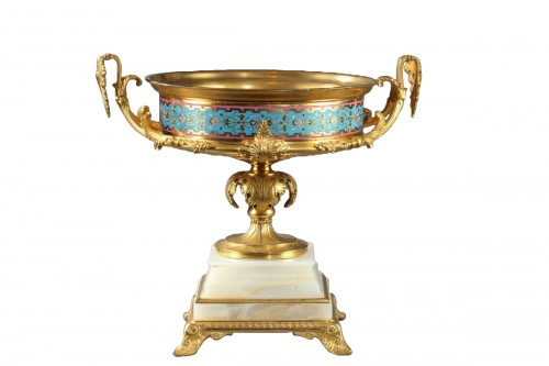 Large gilt bronze cup, Algerian onyx and cloisonné enamels