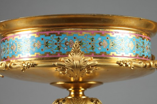 Decorative Objects  - Large gilt bronze cup, Algerian onyx and cloisonné enamels. Attr.:Barbedien