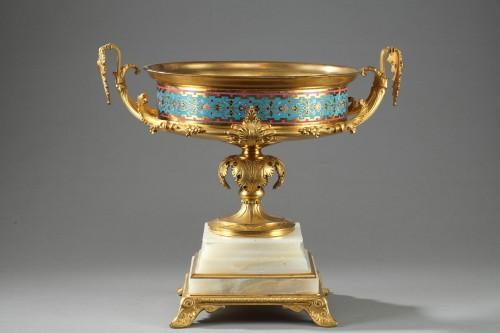 Large gilt bronze cup, Algerian onyx and cloisonné enamels -