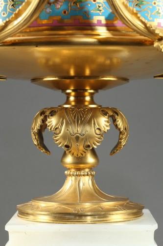 - Large gilt bronze cup, Algerian onyx and cloisonné enamels