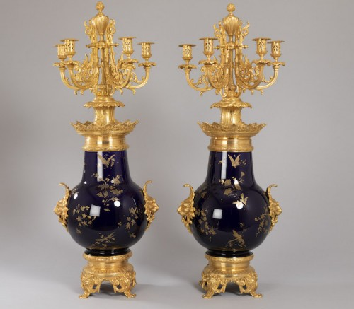 Important candelabra vases in earthenware from Sarreguemines - Lighting Style