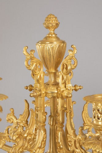 Important candelabra vases in earthenware from Sarreguemines -