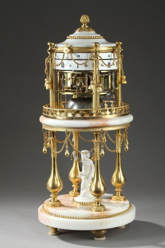 """Early 19th century Clock with revolving circles """" The Temple of Love """" -"""