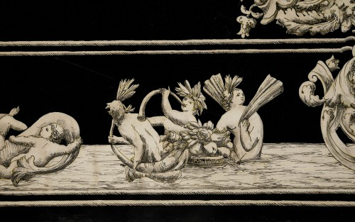 Furniture  - Italian scagliola Tabletop decorated with mythological scenes 19th Century