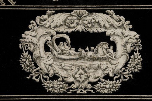 Italian scagliola Tabletop decorated with mythological scenes 19th Century -