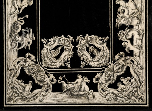 19th century - Italian scagliola Tabletop decorated with mythological scenes 19th Century