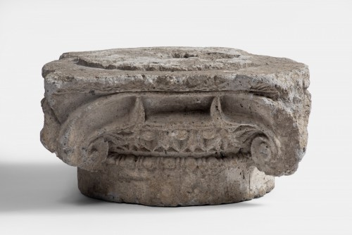 A late Hellenistic travertine ionic corner capital, Greece, 1st Century AD - Ancient Art Style