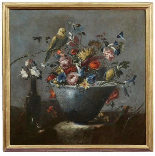 Still life painting with flowers and a parrot attributed to  Pseudo Guardi