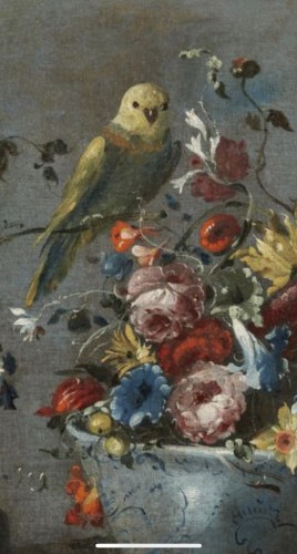 Still life painting with flowers and a parrot attributed to  Pseudo Guardi  - Paintings & Drawings Style