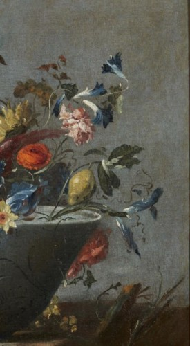 Paintings & Drawings  - Still life painting with flowers and a parrot attributed to  Pseudo Guardi