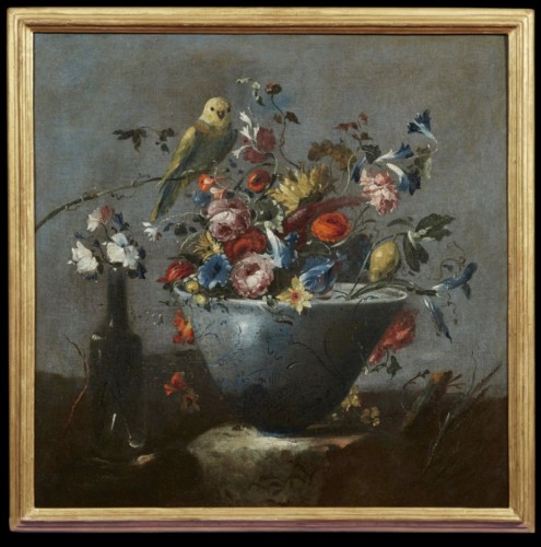 Still life painting with flowers and a parrot attributed to  Pseudo Guardi  -