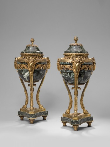 Decorative Objects  - Pair of French Napoleon III serpentine marble and gilt bronze cassolettes