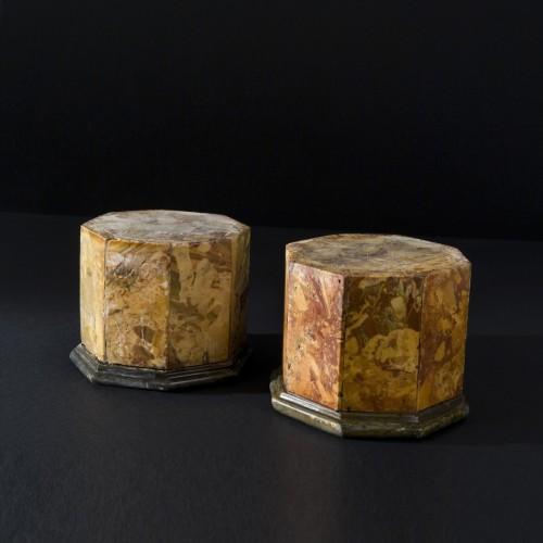 Pair of Italian Octagonal Jasper Marble Plinths / Pedestals 18th century - Decorative Objects Style