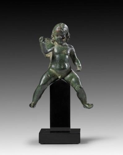 Ancient Art  - Bronze figure of Eros riding a dolphin, Roman Empire, 2nd Century A.D.