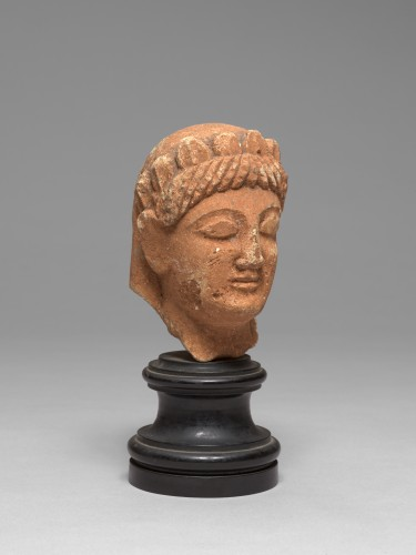 Cypriot limestone head of a female votary, late 6th-early 5th century bc - Ancient Art Style