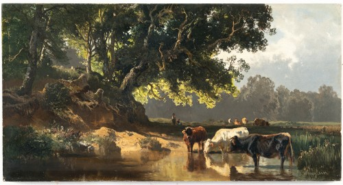 Cows at the watering place - Josef Wenglein (1845 - 1919)
