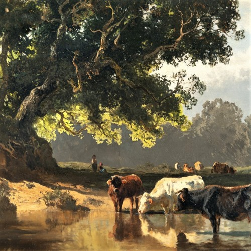 Cows at the watering place - Josef Wenglein (1845 - 1919) - Paintings & Drawings Style