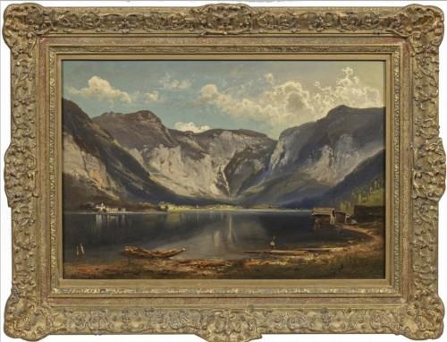 View of Hallstatt - Feldhütter Ferdinand (1842-1898) - Paintings & Drawings Style