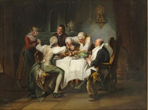 Rococo Society at a Gluttony - Jakob Emanuel Gaisser (1825 - 1899)