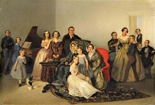 Portrait of the family of Dutchess Ozarowska Adèle (born Matthiessen) - Georg von Bothmann (1810-1891)