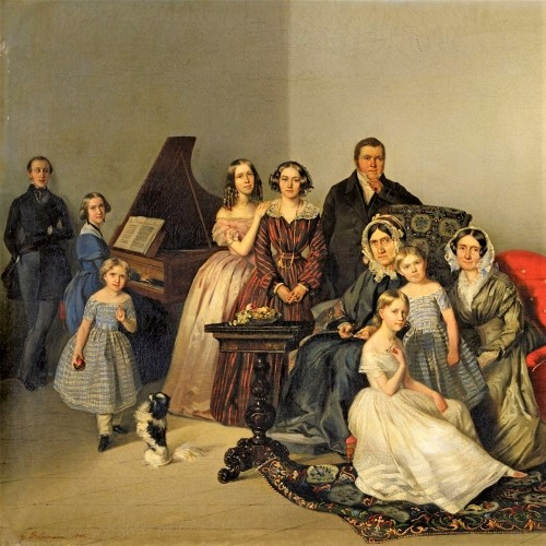 Portrait of the family of Dutchess Ozarowska Adèle (born Matthiessen) - Georg von Bothmann (1810-1891) - Paintings & Drawings Style
