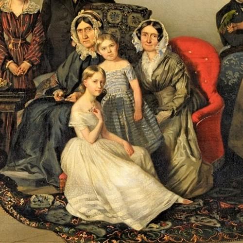 Paintings & Drawings  - Portrait of the family of Dutchess Ozarowska Adèle (born Matthiessen) - Georg von Bothmann (1810-1891)