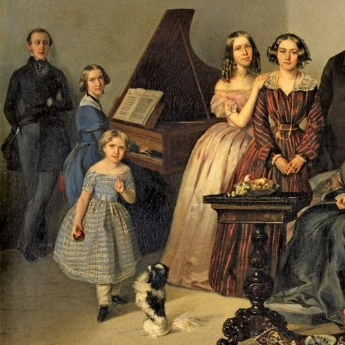19th century - Portrait of the family of Dutchess Ozarowska Adèle (born Matthiessen) - Georg von Bothmann (1810-1891)