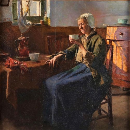 The old fisherman woman  - Aloïs Boudry (1851-1938) - Paintings & Drawings Style