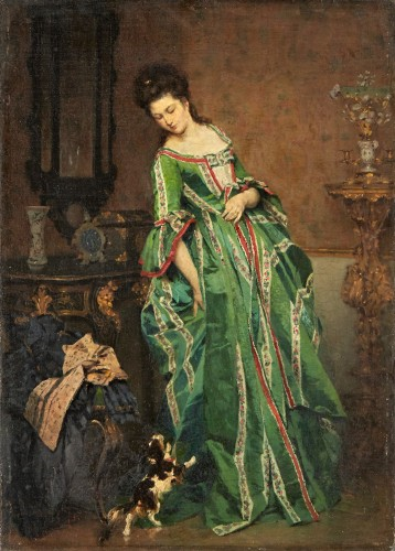 Lady with dog - Lambert Linder,  (1841-1889)