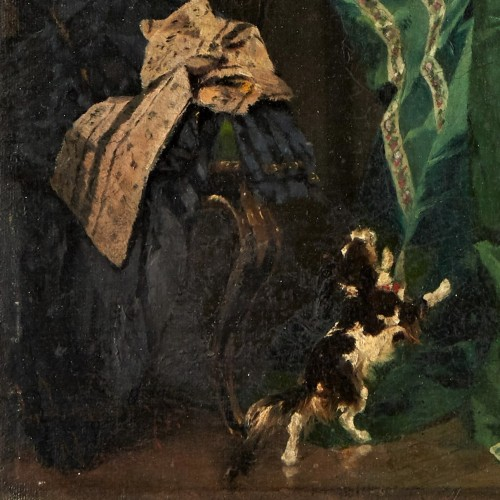 Lady with dog - Lambert Linder,  (1841-1889) - Paintings & Drawings Style