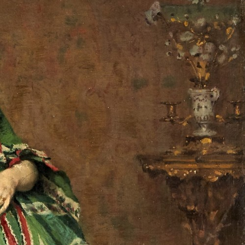 Paintings & Drawings  - Lady with dog - Lambert Linder,  (1841-1889)