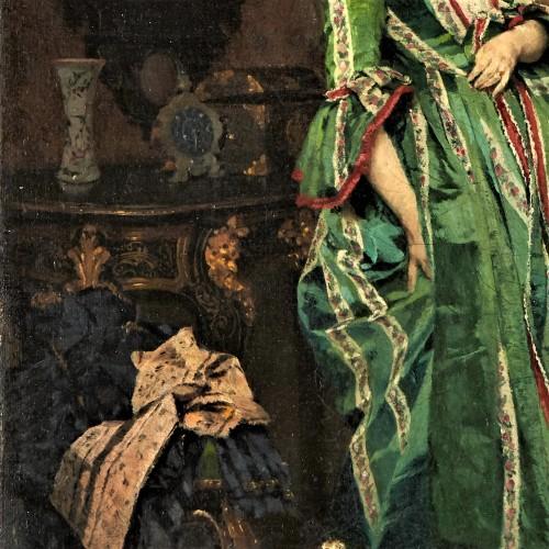 Lady with dog - Lambert Linder,  (1841-1889) -