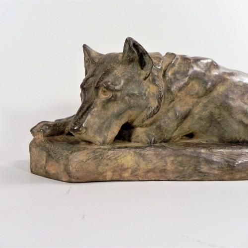 Lying German Shepard Dog - Georges-Lucien Guyot (1885-1973) -