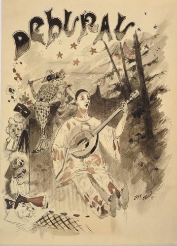 Pierrot / Mime Deburau André César Vermaere (1869-1949) - Art Déco