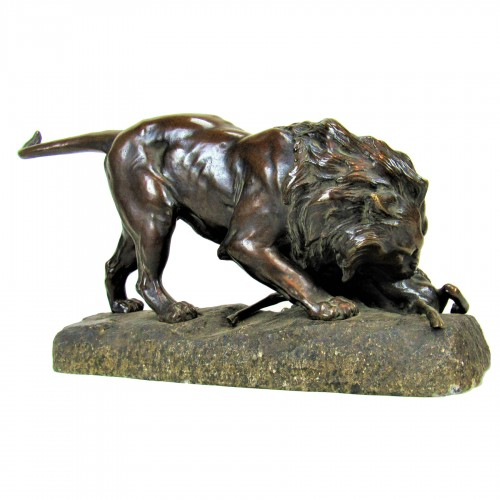 Lion Devouring an Antelope - Georges Gardet 1863-1939)