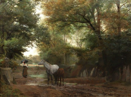 Brittany : The track of Kerlary in Trégunc - Schneider Louis Amable (1824-1884)