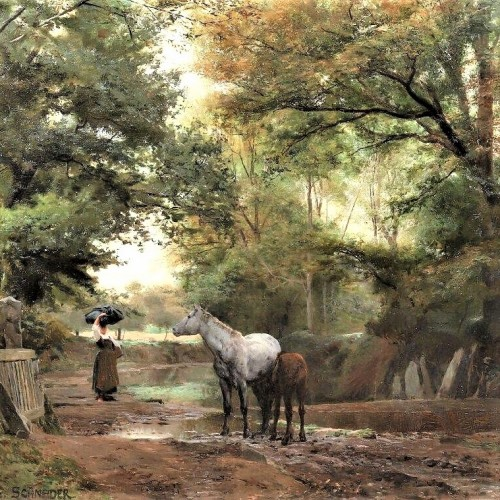 Brittany : The track of Kerlary in Trégunc - Schneider Louis Amable (1824-1884) - Paintings & Drawings Style