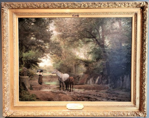 Paintings & Drawings  - Brittany : The track of Kerlary in Trégunc - Schneider Louis Amable (1824-1884)