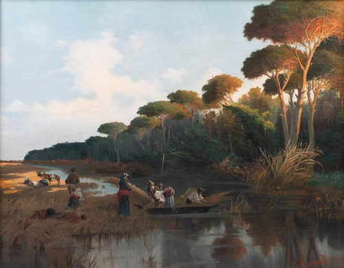 River scene at sunset with figures gathering reeds