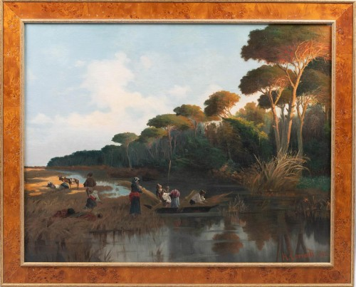 River scene at sunset with figures gathering reeds - Paintings & Drawings Style